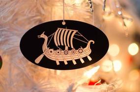 Acrylic Viking Ship Ornament