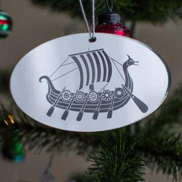 Acrylic Viking Ship Ornament Silver
