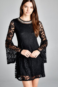 SLEEVE OVERLAY LACE DRESS