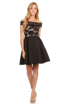Floral Lace Off Shoulder Short Sleeve Fit & Flare Homecoming Dress