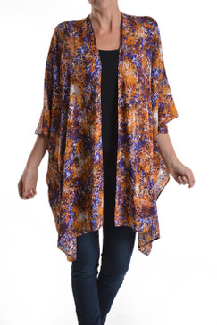 Firework Printed Wide Armed Poncho