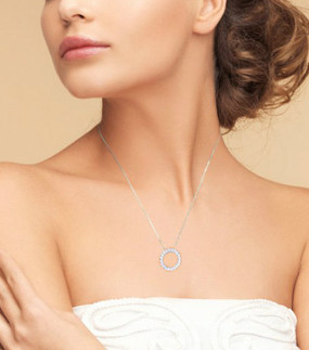 Platinum Plated Sterling Silver Round Cut 2 carat Simulated Diamond Eternity Womens Pendant Necklace
