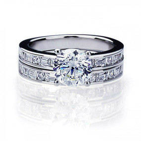 Platinum Plated Sterling Silver Wedding & Engagement Ring Beautiful Ring Set, 2 Carat Simulated Diamond Center Stone Band Width 3MM