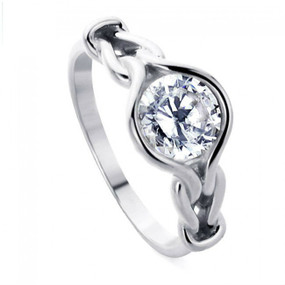 Sterling Silver Wedding & Engagement Ring Love Knot, Round Cut 1.3 Carat CZ