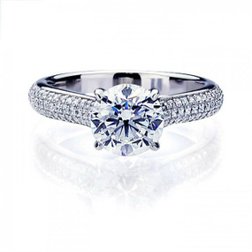 Sterling Silver Exquisite Round Cut 2 Carat Simulated Diamond Engagement Ring