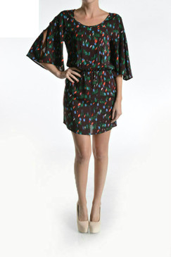 Confetti Printed Flare Sleeved Mini Dress