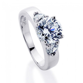 Rhodium Plated Sterling Silver Wedding & Engagement  Ring