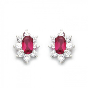 14K White Gold Plated Sterling Silver Cluster CZ Stud Screw Back Earrings