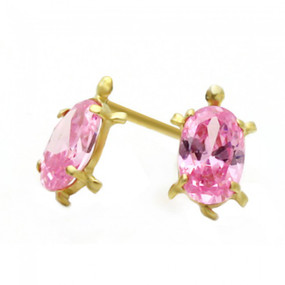 14K Gold Stud Earring pink CZ Turtle Yellow Gold Earring