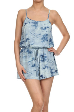 Tie dye, low back, drawstring, relaxed romper