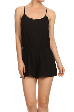 Light weight spaghetti tank romper with elastic waist, lace trim, and back keyhol