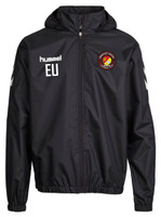 EUFC, Coaches Waterproof Travel Jacket by hummel. Available now from Andreas Carter Sports.