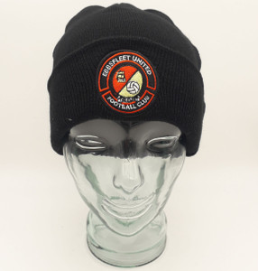 EUFC, Black Roll Up Beanie by Ascar. Available now from Andreas Carter Sports.