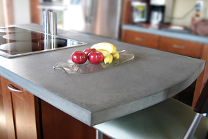 Island concrete kitchen countertops with stove top