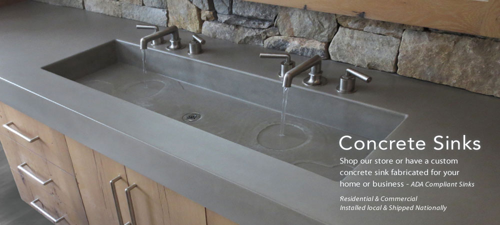 Trueform custom concrete sink for the bathroom. Ada compliance for the home, office, hotel, bar, hospital, bathroom