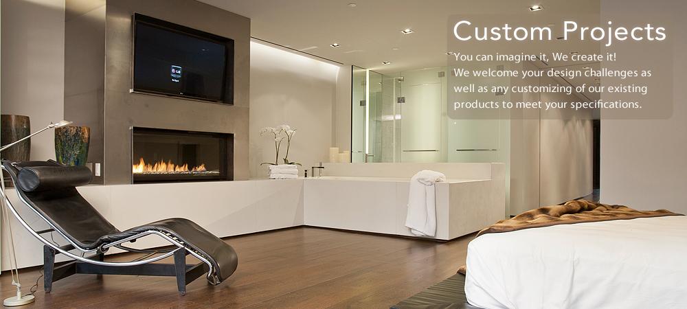 Trueform custom concrete fireplace surround, wall panel, and tub surround.