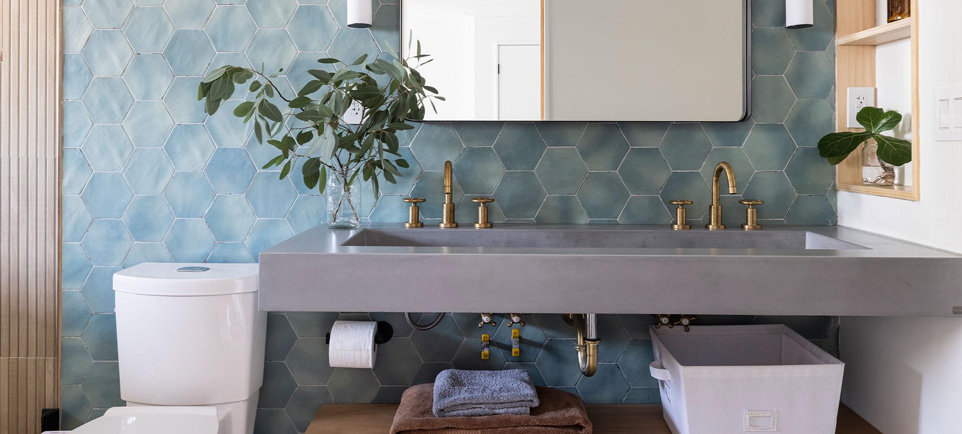 Custom concrete wall-mount sinks
