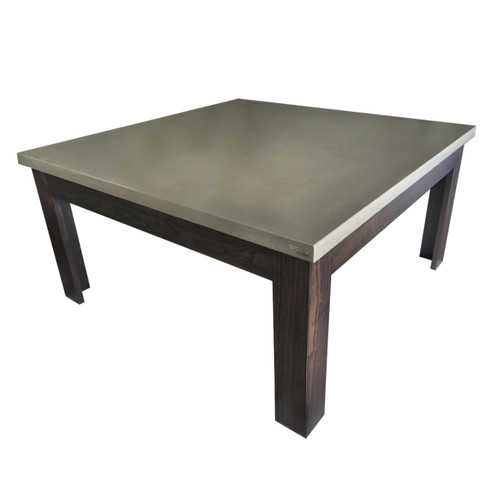 Square Concrete Coffee Table on solid wood base. Concrete shown in Taupe : Wood Base in Espresso