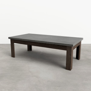"Trueform Rectangle Concrete Coffee Table with solid wood base. Concrete shown in color ""Charcoal"", with wood Base in ""Espresso""."
