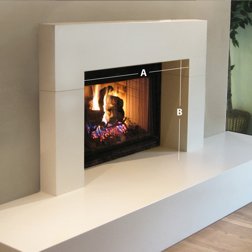 Trueform Wrap Concrete Fireplace Surround. Wharton, New Jersey. Concrete shown in White Linen