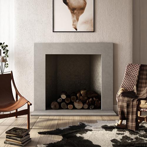 "Trueform Plane Concrete Fireplace Surround. Wharton, New Jersey.  Concrete shown in ""Taupe"" color."