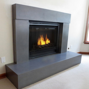 Trueform Beam Concrete Fireplace Surround. Wharton, New Jersey. Concrete shown in Charcoal