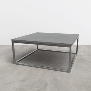 Trueform Cube Concrete Coffee Table for any office, living, dining, or waiting room. Wharton, New Jersey.  Concrete shown in Charcoal : Base in Stainless Steel