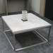 Trueform Cube Concrete Coffee Table for any office, living, dining, or waiting room. Wharton, New Jersey.  Concrete shown in Limestone : Base in Stainless Steel