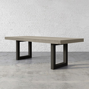 "Trueform Zen Concrete Dining Table is the focal point in any dining or family room. Perfect as a conference table. Wharton, New Jersey. Kitchen or conference table. Concrete shown in the color ""Pewter""."