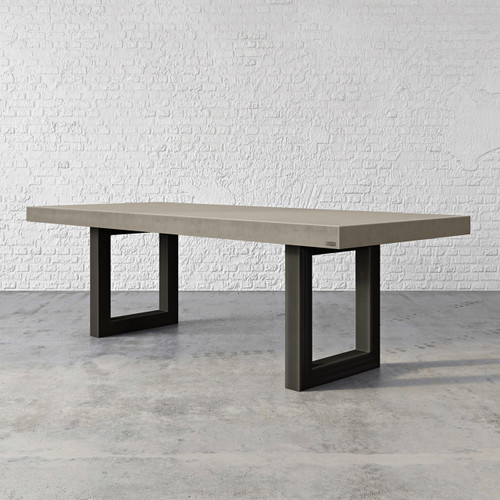 """Trueform's Zen Concrete Dining Table is the focal point in any dining or family room. Perfect as a conference table. Wharton, New Jersey. Kitchen or conference table. Concrete shown in the color """"Pewter""""."""