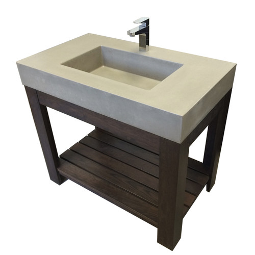"""Trueform 36"""" Lavare Vanity with Concrete Rectangle Sink is a custom modern sink with contemporary features for the bathroom, or powder room.  Vanity top integral sink with base. Concrete shown in the color """"Concrete"""" Wharton, New Jersey."""