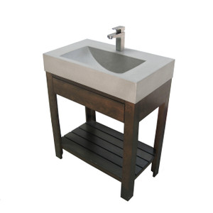 "Trueform 30"" Lavare Vanity with Concrete Trough Sink & Drawer is a custom modern sink with contemporary features for the bathroom, or powder room. Vanity top integral sink with base. Concrete shown in the color Limestone. Wharton, New Jersey."