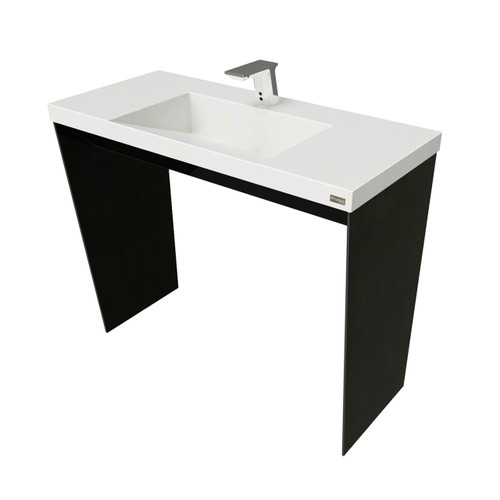 "40"" Contempo Vanity With Concrete Ramp Sink SKU: CONTEMPO-40V  Concrete color shown in: ""White Linen"" Steel Base Finish shown in: ""Painted Black"""