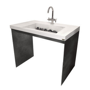 Trueform Contempo Concrete Bathroom Vanity Sink is a custom modern sink with contemporary features for the bathroom, or powder room. Wharton, New Jersey. Concrete shown in the color White Linen