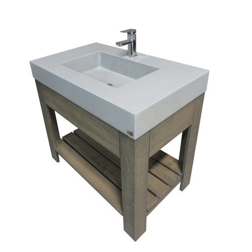 "Trueform Concrete 36"" Lavare Vanity with Concrete Rectangle Sink & Drawer is a custom modern sink with contemporary features for the bathroom, or powder room. Vanity top integral sink with base. **Concrete shown in the color Limestone : Base in Grey on Maple.**  Wharton, New Jersey."