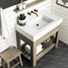 """Trueform Concrete 36"""" Lavare Vanity with Concrete Rectangle Sink & Drawer is a custom modern sink with contemporary features for the bathroom, or powder room. Vanity top integral sink with base. **Concrete shown in the color White Linen : Base in Grey on Maple.**  Wharton, New Jersey."""