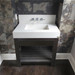 """Trueform Concrete 36"""" Lavare Vanity with Concrete Rectangle Sink & Drawer is a custom modern sink with contemporary features for the bathroom, or powder room. Vanity top integral sink with base. **Concrete shown in the color White Linen : Base in Espresso.**  Wharton, New Jersey."""