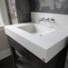 "Trueform 36"" Lavare Concrete Bathroom Vanity Sink with Drawer is a custom modern sink with contemporary features for the bathroom, or powder room. Wharton, New Jersey. Vanity top integral sink with base. Concrete shown in the color White Linen : Base in Espresso"