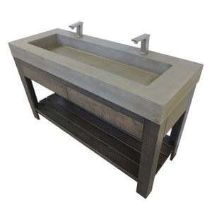"Trueform 60"" Lavare Vanity with Concrete Rectangle Sink & Drawer is a custom modern sink with contemporary features for the bathroom, or powder room.  Vanity top integral sink with base. Concrete shown in the color Pewter : Base in Espresso. Wharton, New Jersey."