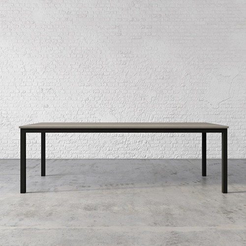 Trueform London Concrete Dining & Kitchen Table. A nice addition to any kitchen, dining or family room. Perfect as a conference table. Wharton, New Jersey. Concrete shown in the color Pewter: Base in Printed Black