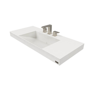 Trueform Contempo Floating Concrete Bathroom Sink is a custom modern sink with contemporary features for the bathroom, or powder room.  Concrete shown in the color White Linen