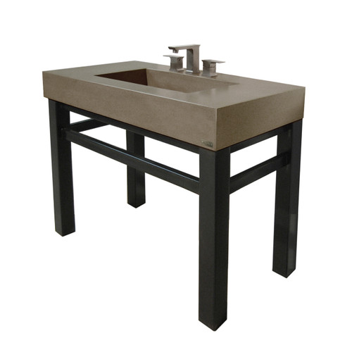 "Trueform 36"" Industrial Concrete Bathroom Vanity Sink is a custom modern sink with contemporary features for the bathroom or powder room. Wharton, New Jersey. Vanity top integral sink with base. Color shown in Pewter : Base in Painted"