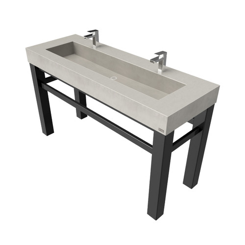 "Trueform 60"" Industrial Rectangle Concrete Vanity Bathroom Sink is a custom modern sink with contemporary features for the bathroom, kitchen, or powder room. Wharton, New Jersey. Vanity top integral sink with base. Concrete shown in the color ""Concrete"". Base in Painted Black."