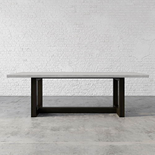 """The Trueform Wood Zen Concrete Dining & Kitchen Table is a beautiful collaboration between a wood base and a concrete top. This concrete table will add a unique touch to any living or dining room, kitchen, or commercial space. The wood base is available in cherry or maple and compliments the sleek look of the concrete top. Concrete shown in the color """"Concrete"""""""