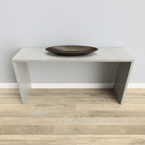 Trueform Circa Concrete Console Table is a nice addition to any dining or family room. Wharton, New Jersey. Concrete shown in the color Limestone.