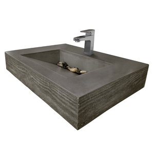 "Trueform 30"" ADA Floating Concrete Bathroom Sink Wood Edge designed for a restaurant, bar or hotel and meets requirements for thickness, set backs and clearances. Wharton, New Jersey. Concrete shown in the color Charcoal"