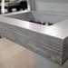"Trueform 30"" ADA Floating Concrete Bathroom Sink Wood Edge designed for a restaurant, bar or hotel and meets requirements for thickness, set backs and clearances. Wharton, New Jersey. Concrete shown in the color Graphite"