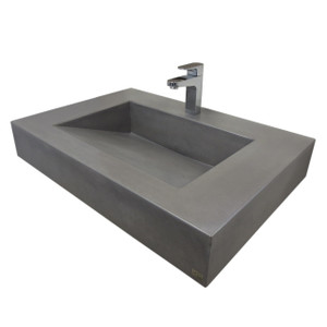 "Trueform 30"" ADA Floating Concrete Bathroom Sink designed for a restaurant, bar or hotel and meets requirements for thickness, set backs and clearances. Wharton, New Jersey. Concrete shown in the color Graphite"