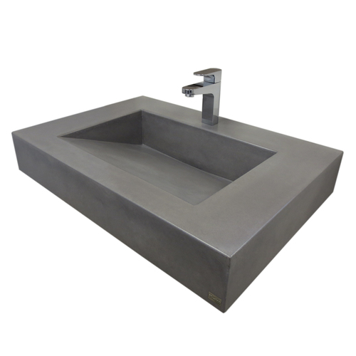 """Trueform 30"""" ADA Floating Concrete Bathroom Sink designed for a restaurant, bar or hotel and meets requirements for thickness, set backs and clearances. Wharton, New Jersey. Concrete shown in the color Graphite"""