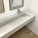 "Trueform 60"" ADA Floating Concrete Bathroom Sink custom designed for residential or hospitality settings. Meets ADA requirements for thickness, set backs and clearances. Wharton, New Jersey. Concrete shown in the color Limestone."